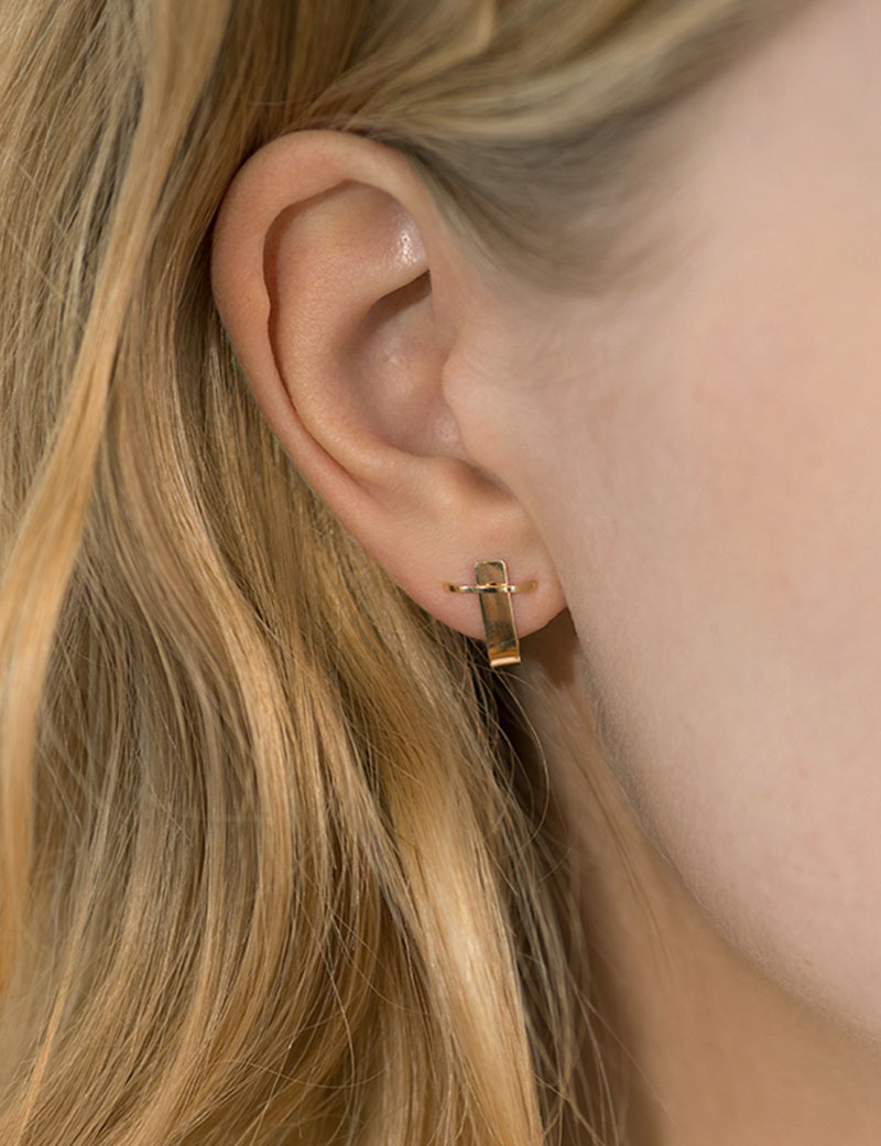 Kathleen Whitaker Small Cuff Earring with Stitch on model