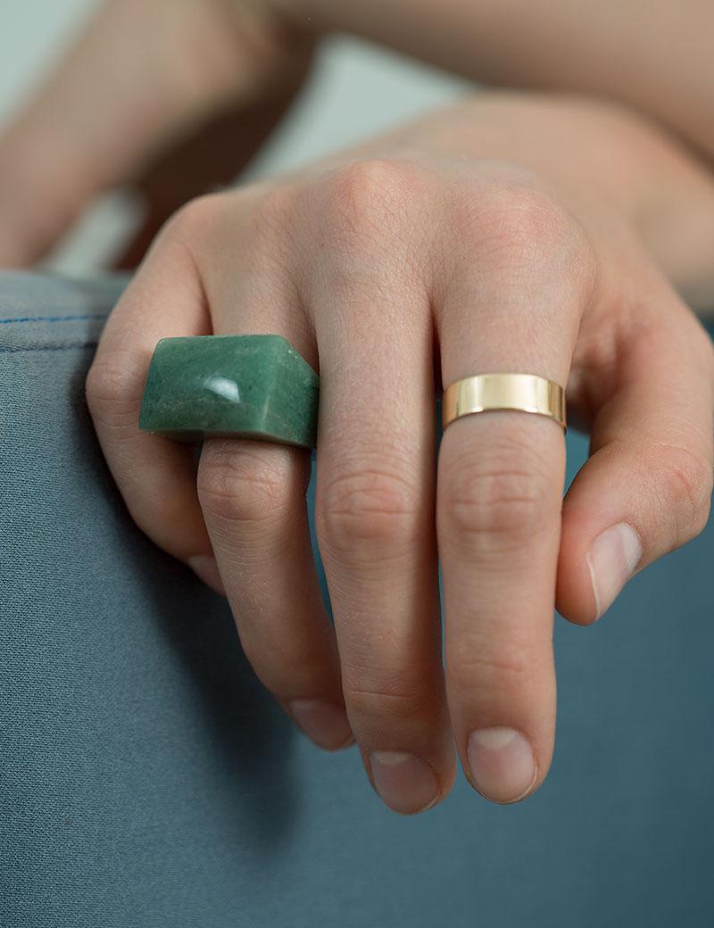 Kathleen Whitaker Flat Band Rock Ring