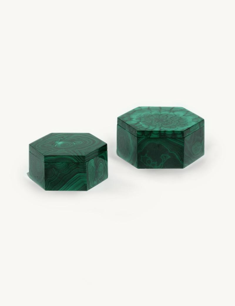 Hexagonal Malachite Box Kathleen Whitaker