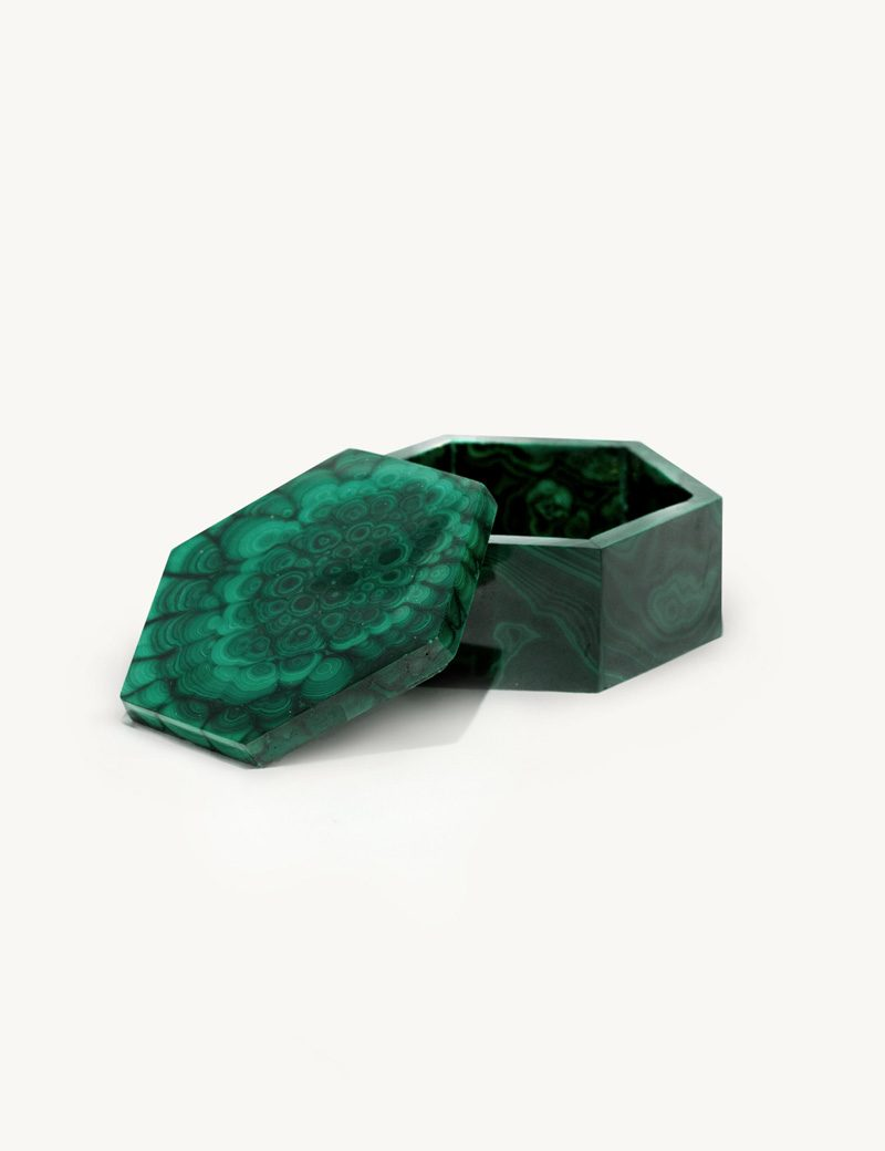 Kathleen Whitaker Hexagonal Malachite Box open