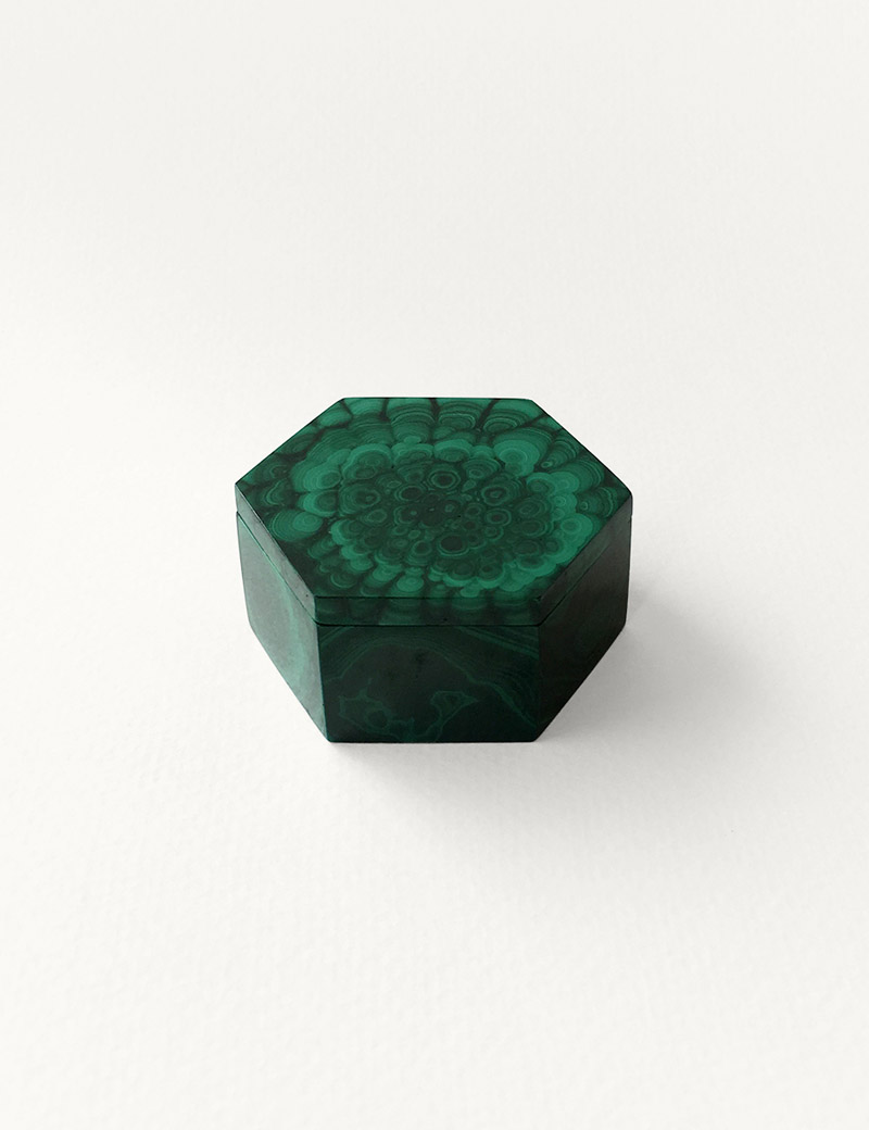 Hexagonal Malachite Box Kathleen Whitaker