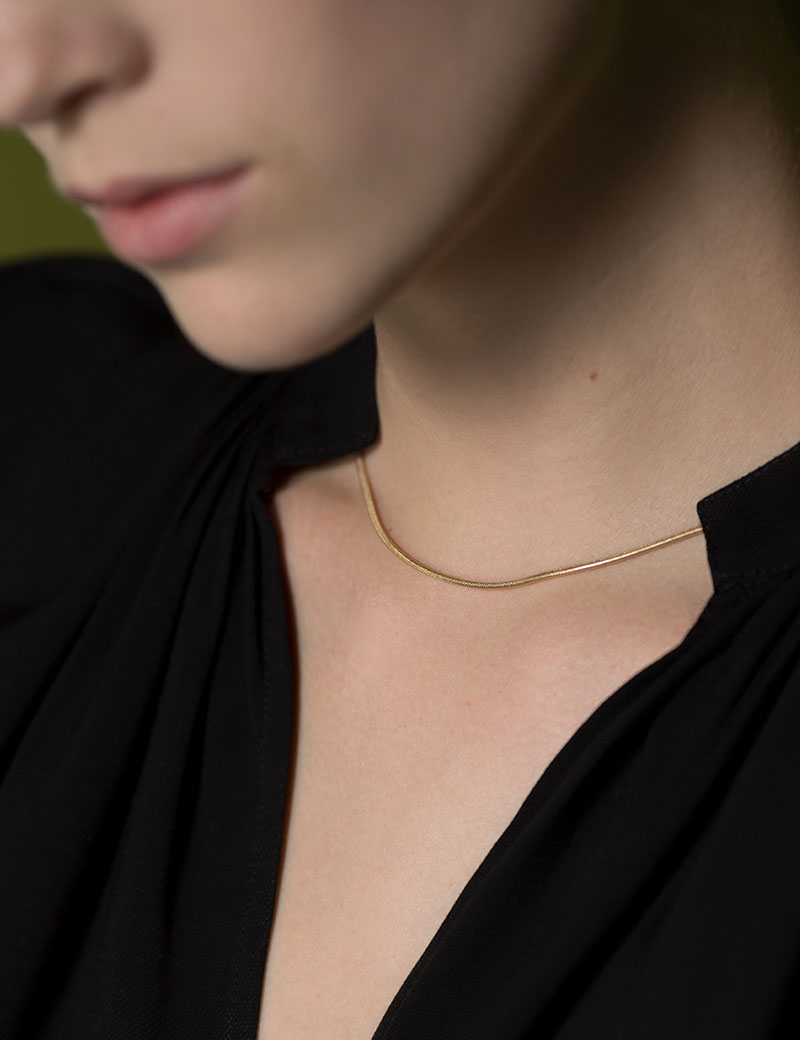 Kathleen Whitaker Snake Chain Necklace on model