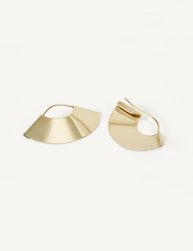 Kathleen Whitaker Small Gold Fan Earrings