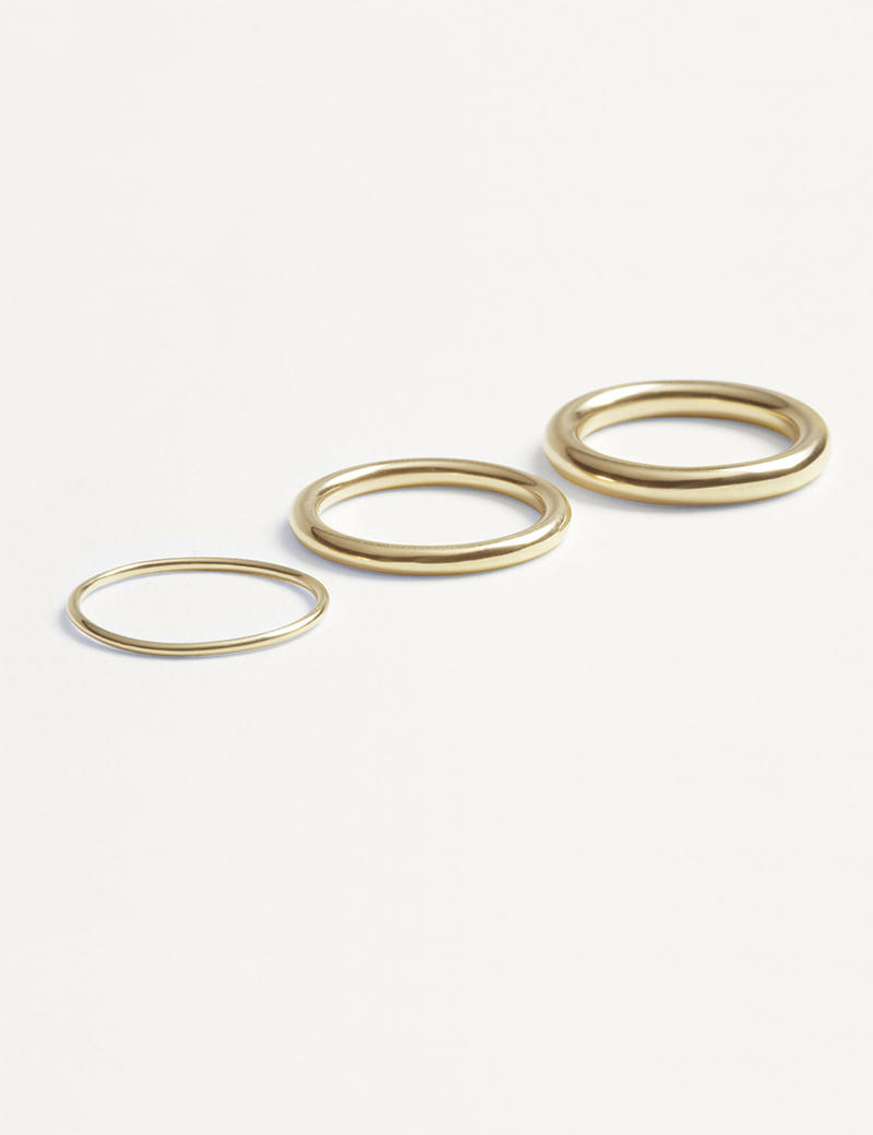 Kathleen Whitaker Tube Bands in 14K yellow gold