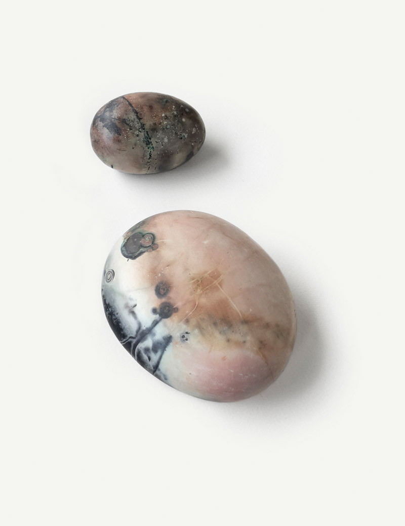 Kathleen Whitaker Large Porcelain Stone and Small Porcelain Sphere