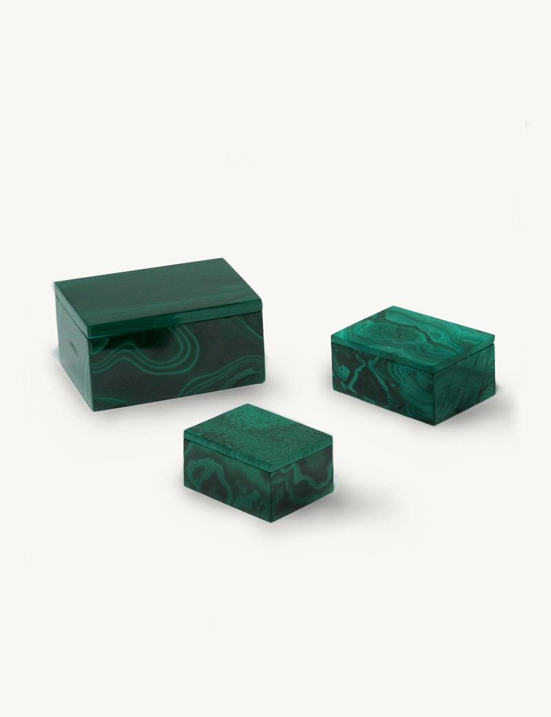 Kathleen Whitaker Malachite Gem Boxes 3 sizes
