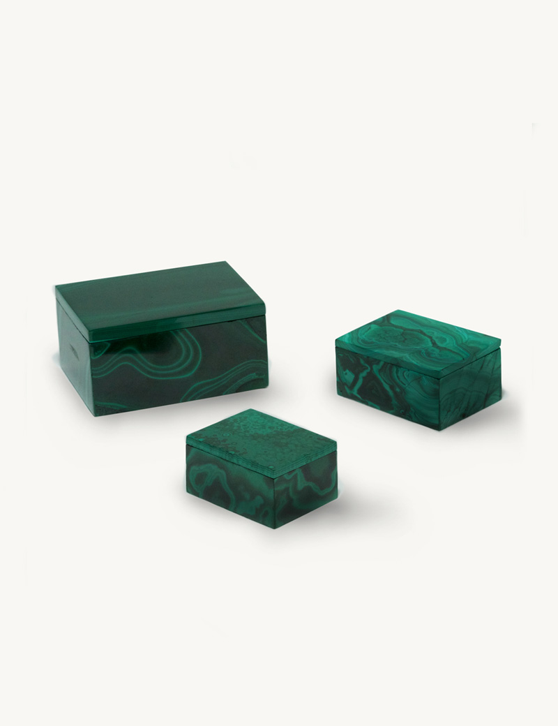 Kathleen Whitaker Malachite Gem Boxes