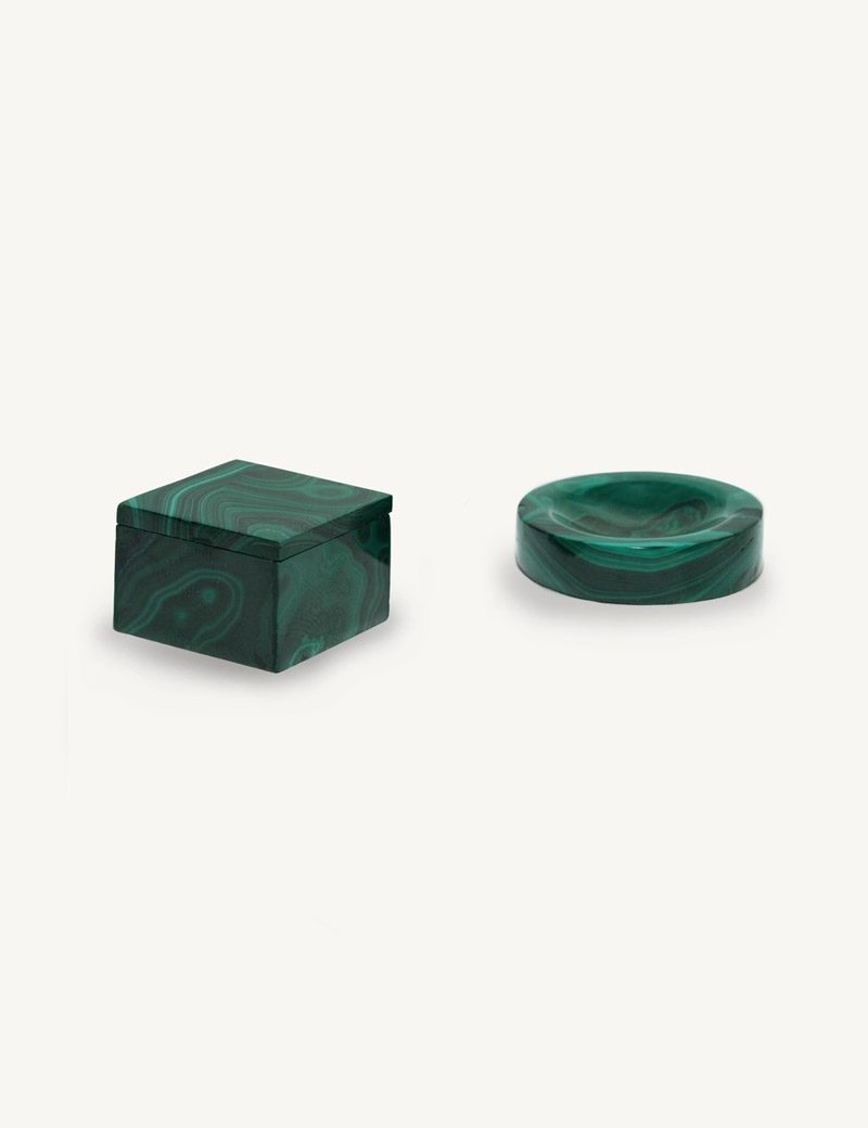 Kathleen Whitaker Malachite Ring Box and Oval Malachite Ring cup