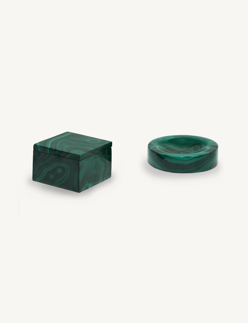 Kathleen Whitaker Malachite Ring Box and Ring cup