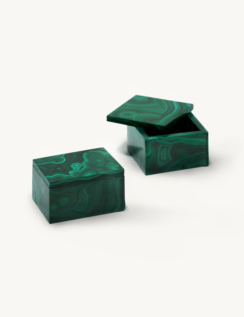 Kathleen Whitaker Malachite Ring Box and Extra Small Gem Box