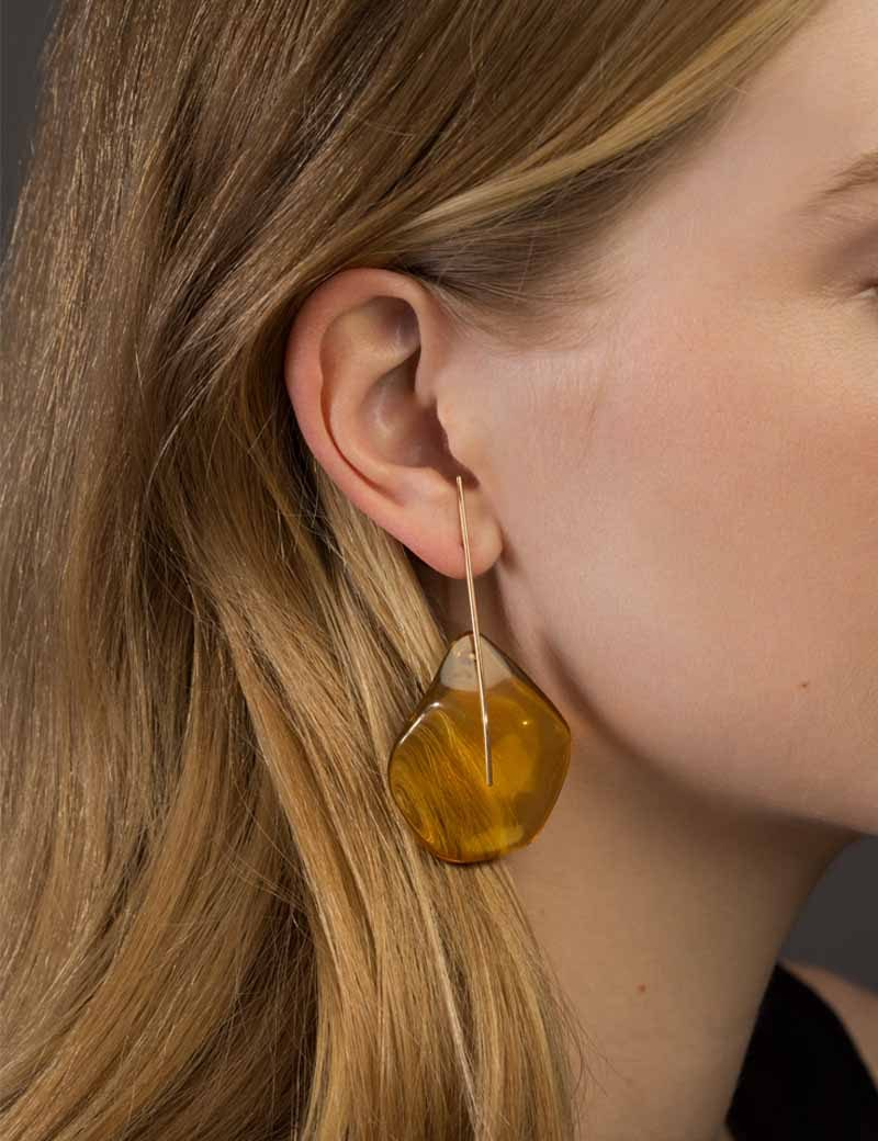 Kathleen Whitaker Amber on Strand Earrings on Model