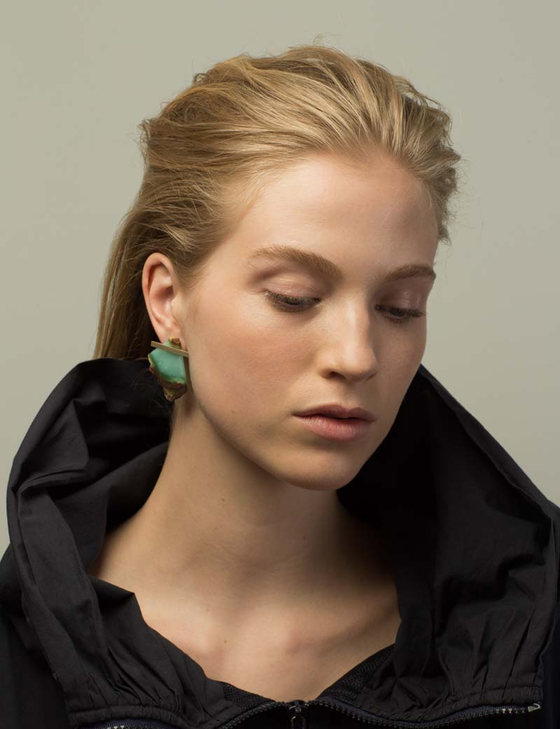 Kathleen Whitaker Chrysoprase Rough Cut on model Chloe Bratten