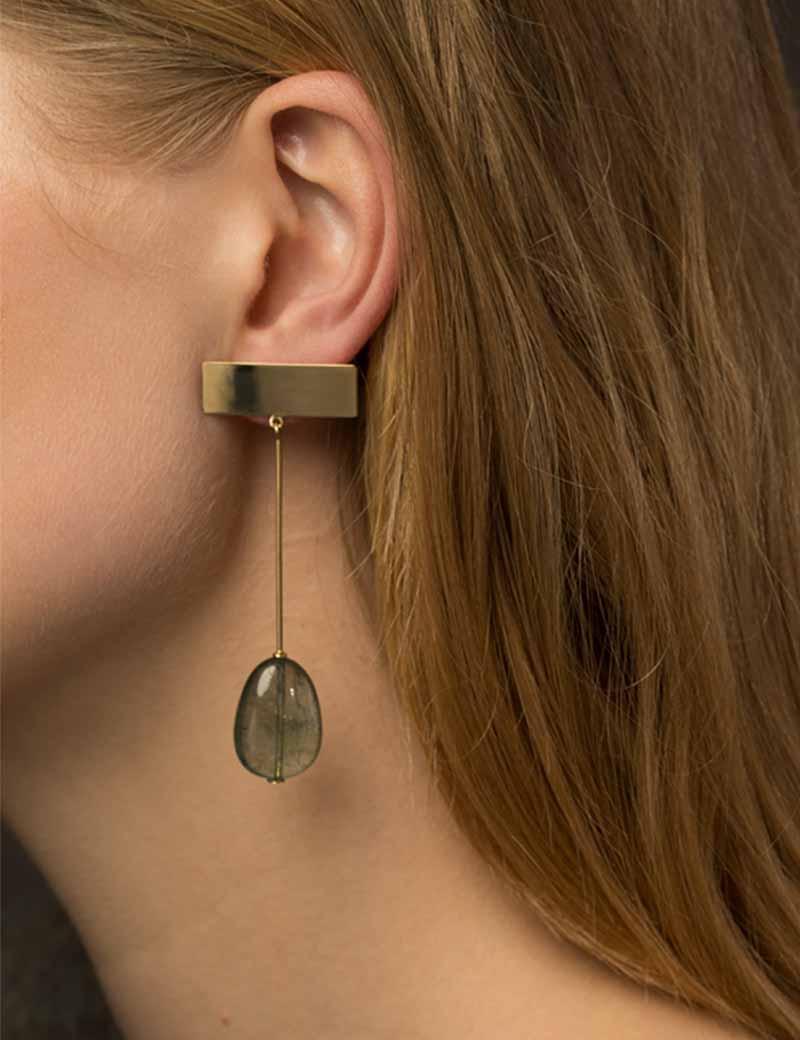 Kathleen Whitaker Moss Aquamarine Drop Earrings on model