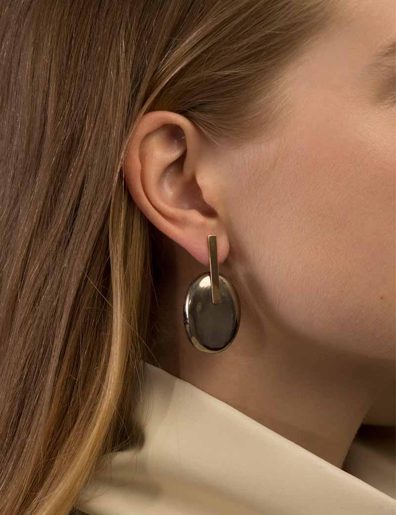 Kathleen Whitaker Small Pyrite Earring on model