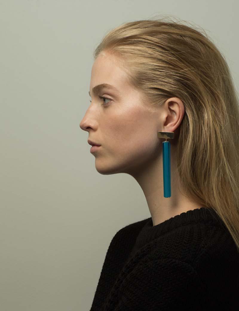 Kathleen Whitaker Vintage Blue Venetian Glass earrings on model 7