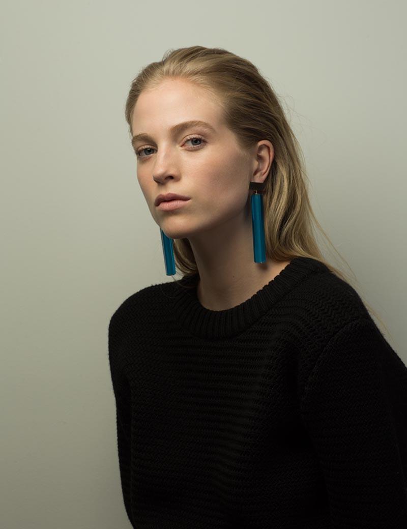 Kathleen Whitaker Vintage Blue Venetian Glass earrings on model 1