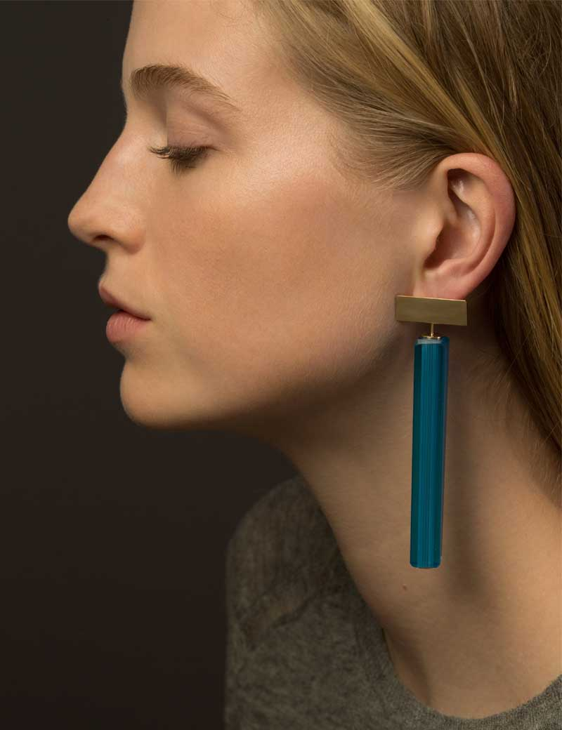 Kathleen Whitaker Vintage Blue Venetian Glass earrings on model 5