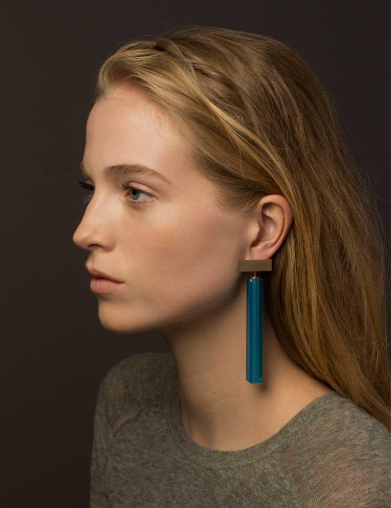 Kathleen Whitaker Vintage Blue Venetian Glass earrings on model 4