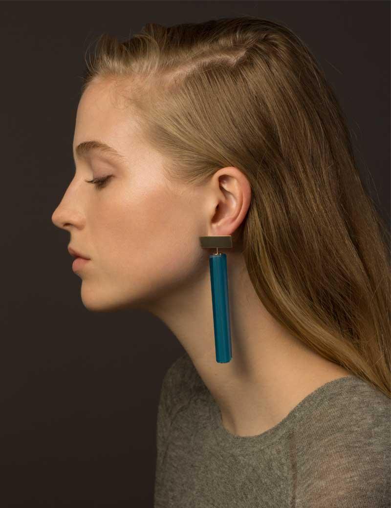 Kathleen Whitaker Vintage Blue Venetian Glass earrings on model 3