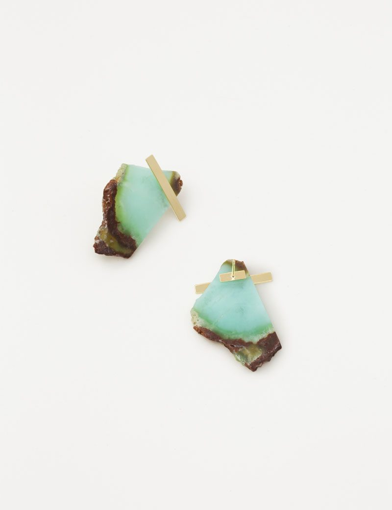 KAthleen Whitaker Rough Cut Chrysoprase Slice Earrings