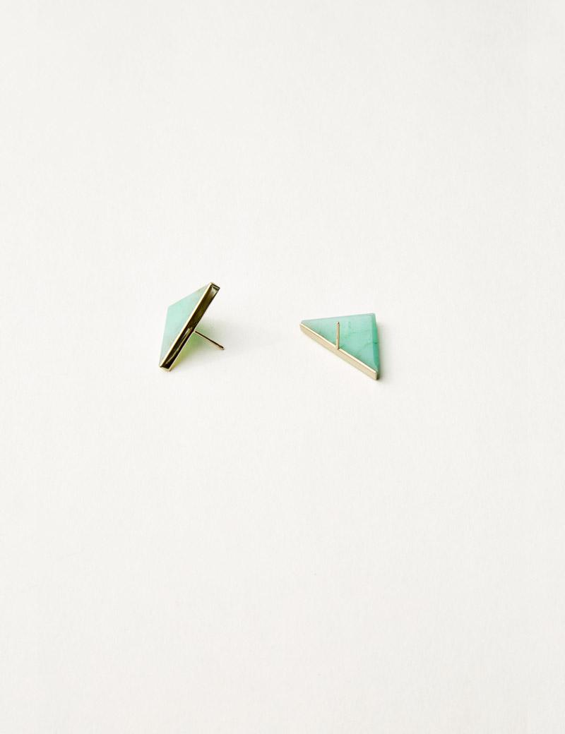 KathleenWhitaker Chrysoprase Triangle Studs