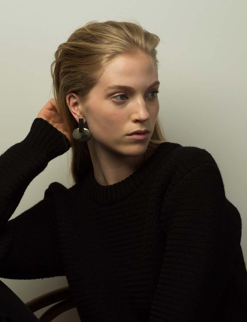 Kathleen Whitaker Large Cabochon Pyrite Earrings on model
