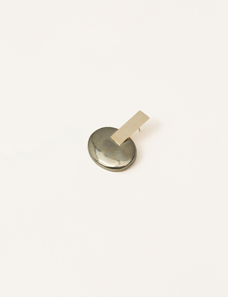 Kathleen Whitaker Large Pyrite Cabochon Earring