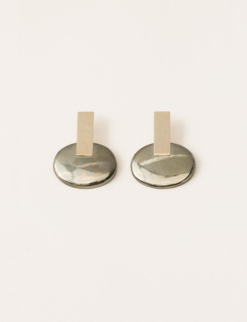 Kathleen Whitaker Large Pyrite Earrings