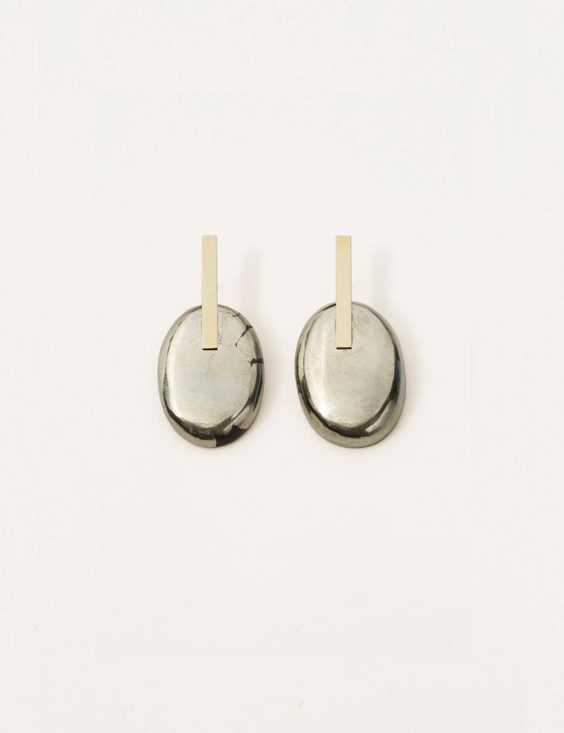 Kathleen Whitaker Small Pyrite Earrings 4
