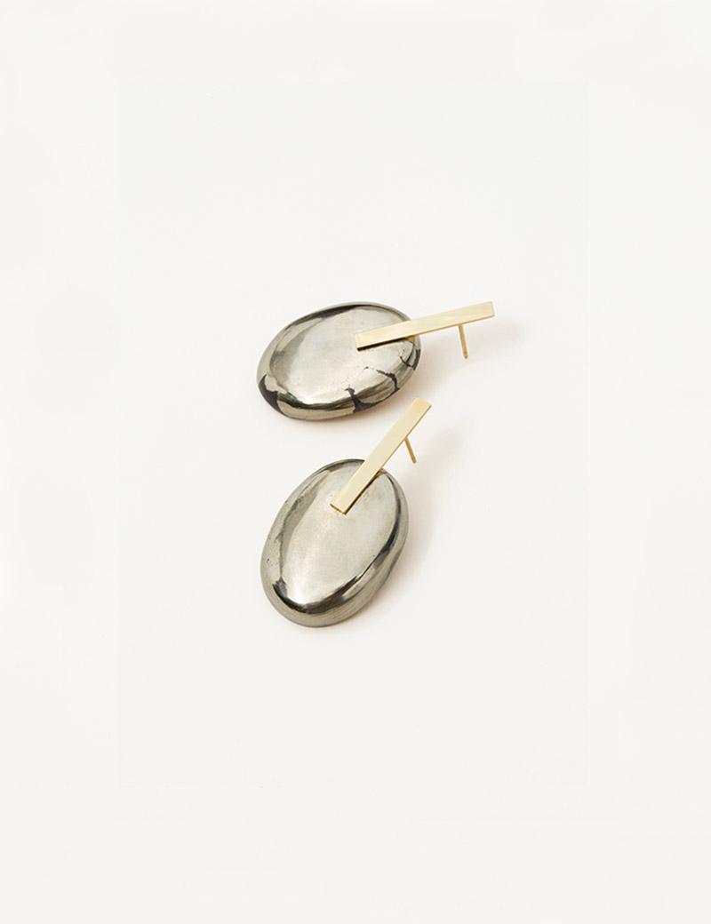 Kathleen Whitaker Small Pyrite Earrings angled