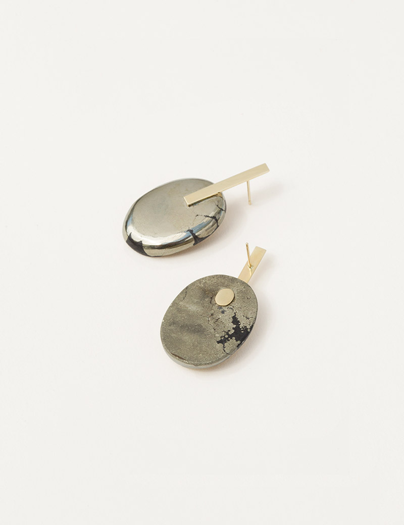 Kathleen Whitaker Small Pyrite Cabochon Earrings 1