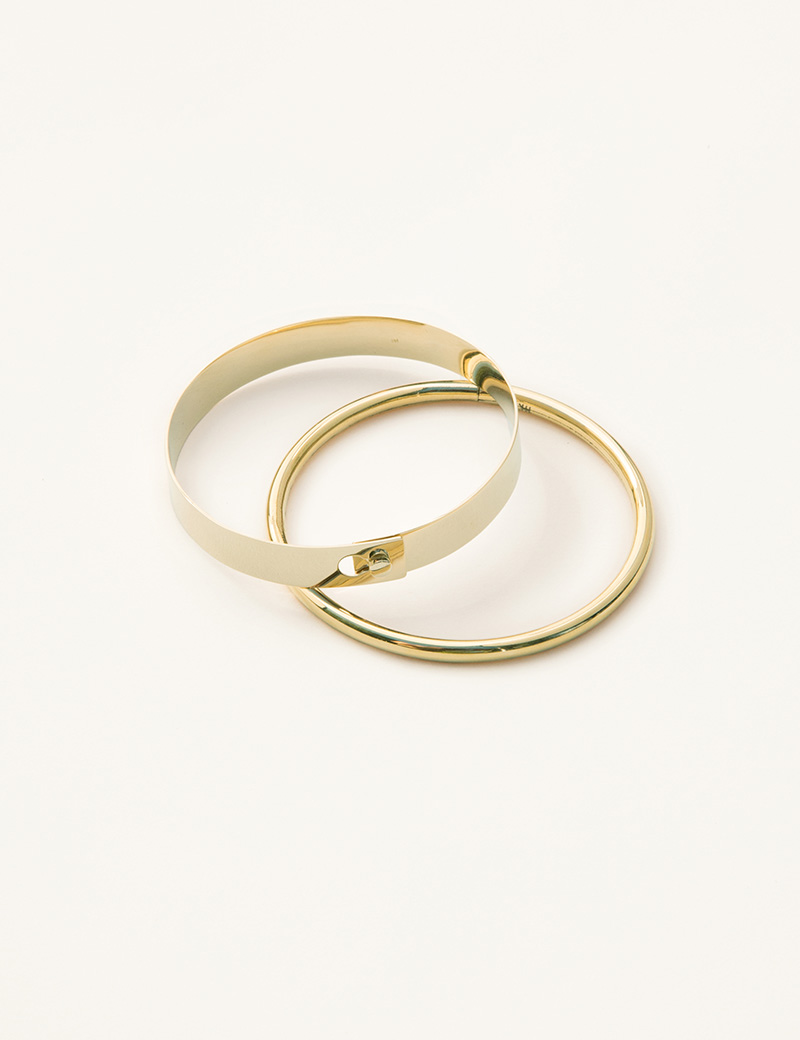 Kathleen Whitaker Flat Catch Bangle And Tube Bangle