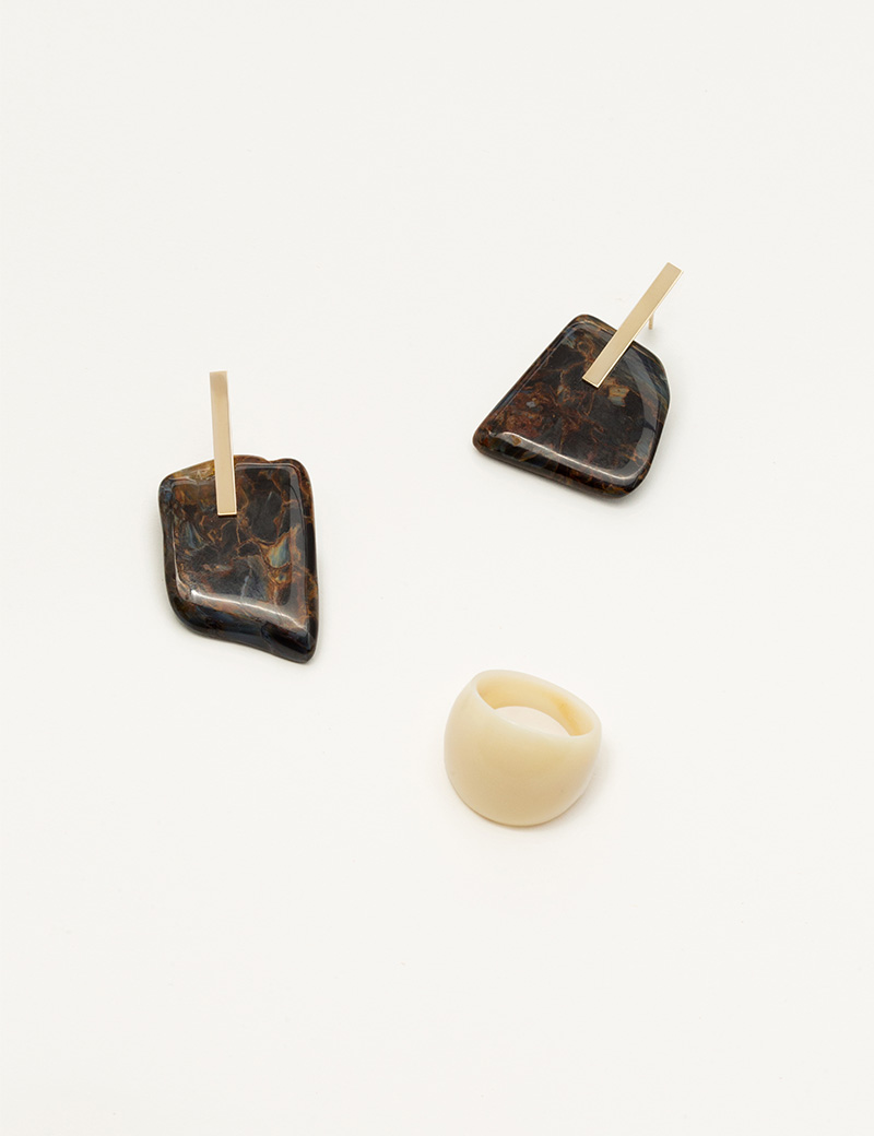 Pietersite Earrings with Long Plate and Vegetable Ivory Rock Ring