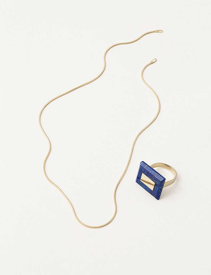 Kathleen Whitaker Square Lapis Ring and Snake Chain Necklace