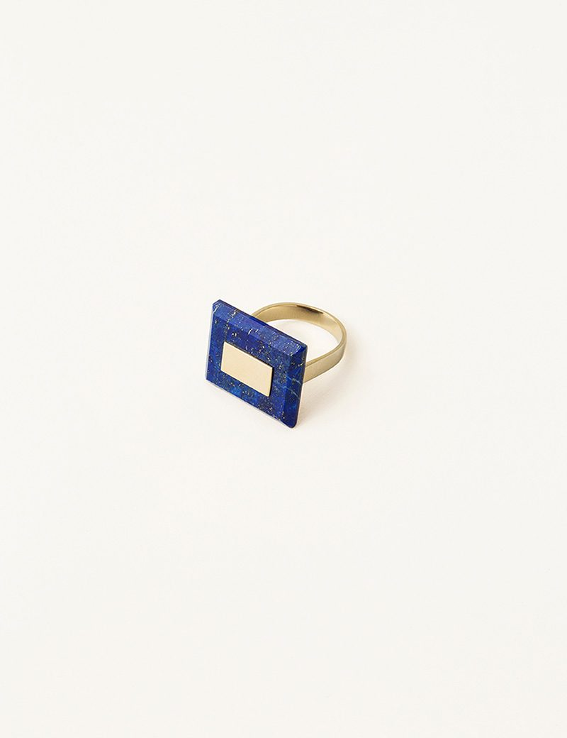 Kathleen Whitaker Square Lapis Ring