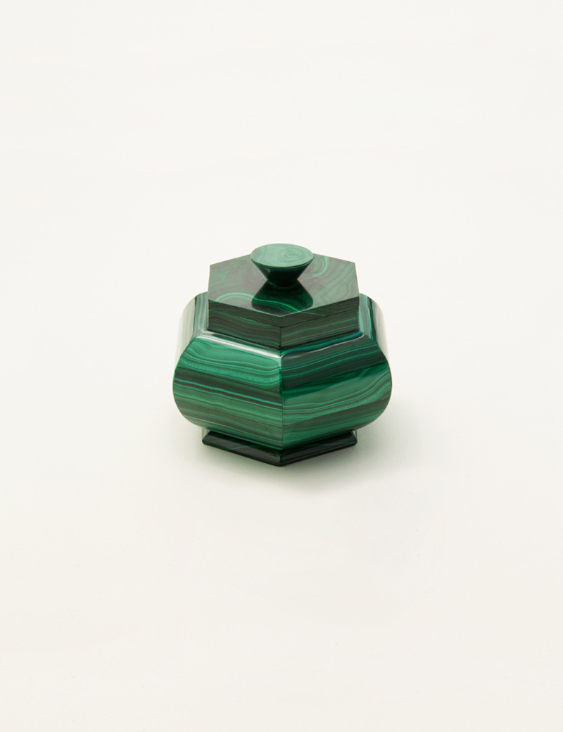 Kathleen Whitaker Large Malachite lidded vessel closed