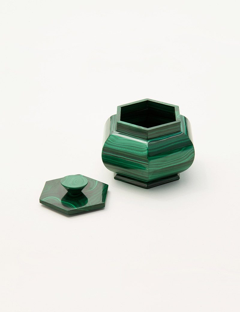 Kathleen Whitaker Lidded Malachite Vessel open