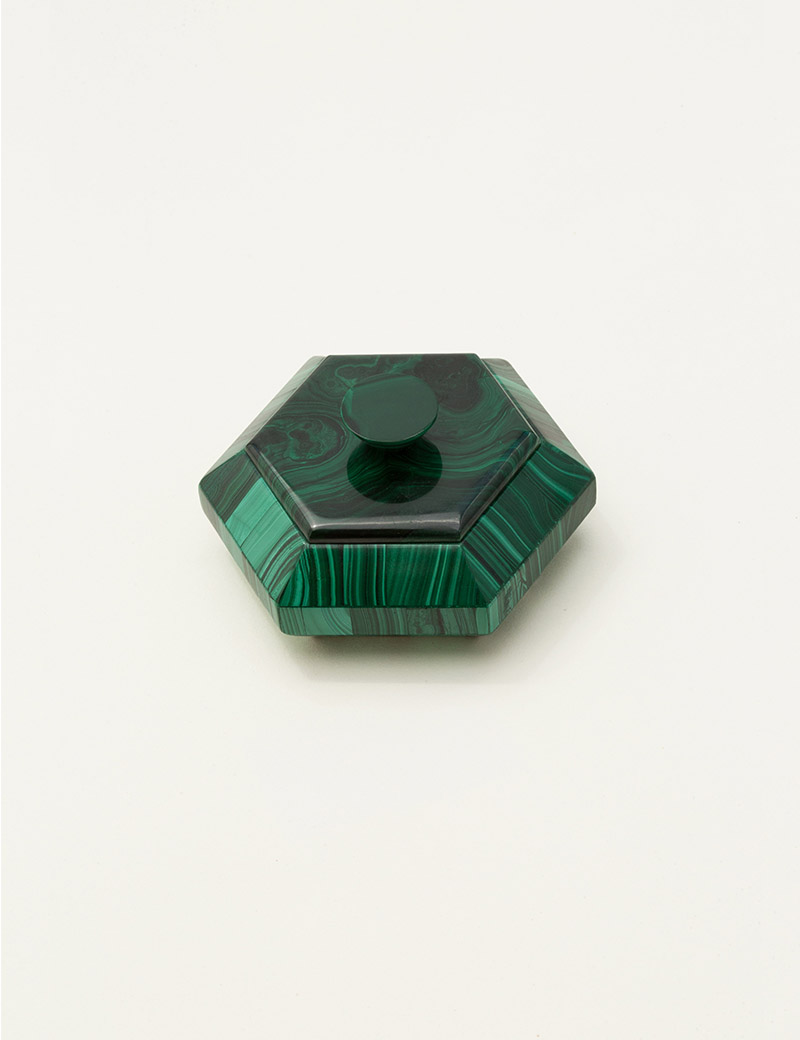 Kathleen Whitaker Small Lidded Malachite Vessel