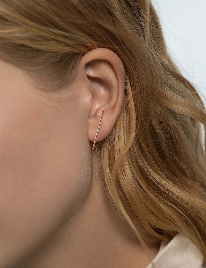 Kathleen Whitaker Stick Stud in Rose gold on model