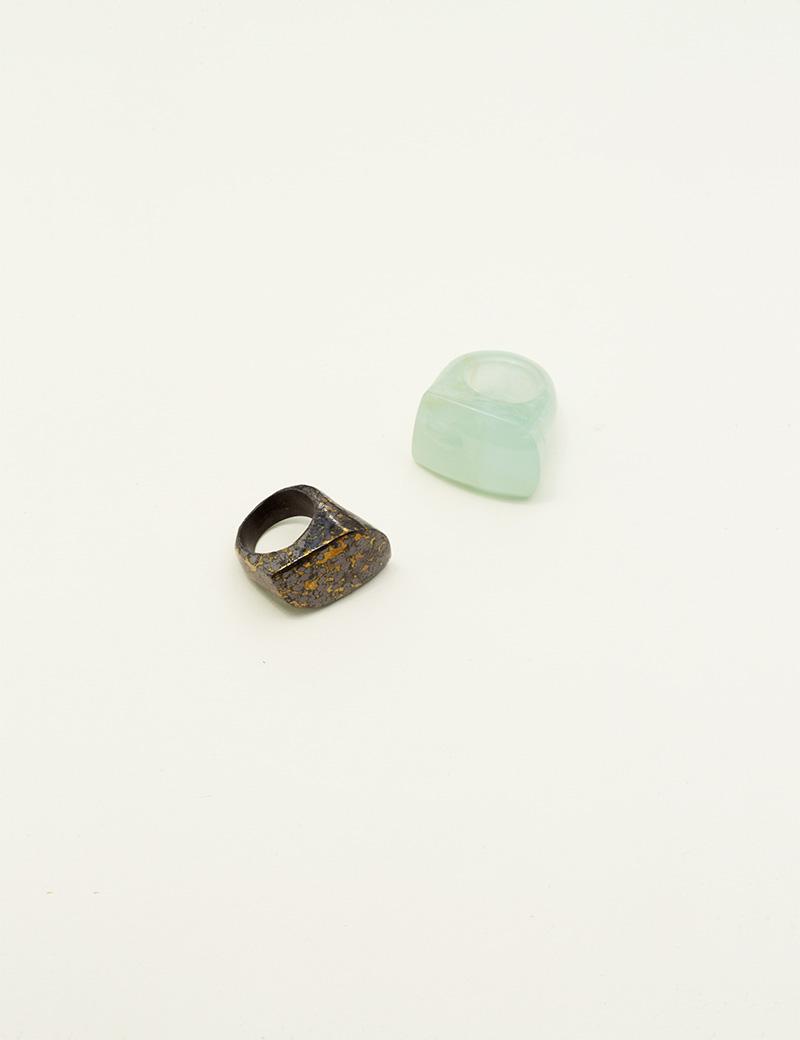 Kathleen Whitaker Hematite in Pyrite Rock Ring with Aquamarine Rock Ring