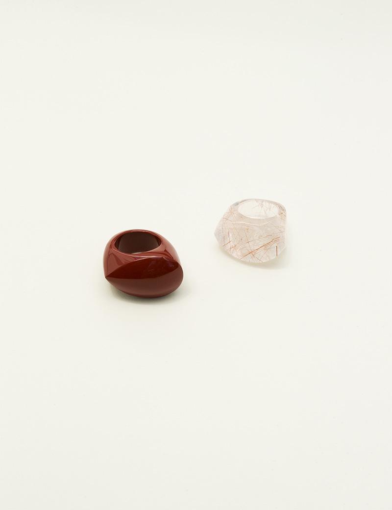 Kathleen Whitaker Jasper Rock Ring and Rutilated Quart Rock Ring