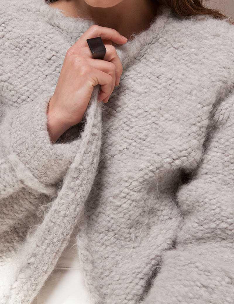 Kathleen Whitaker Smoky Quartz Rock Ring faceted on model