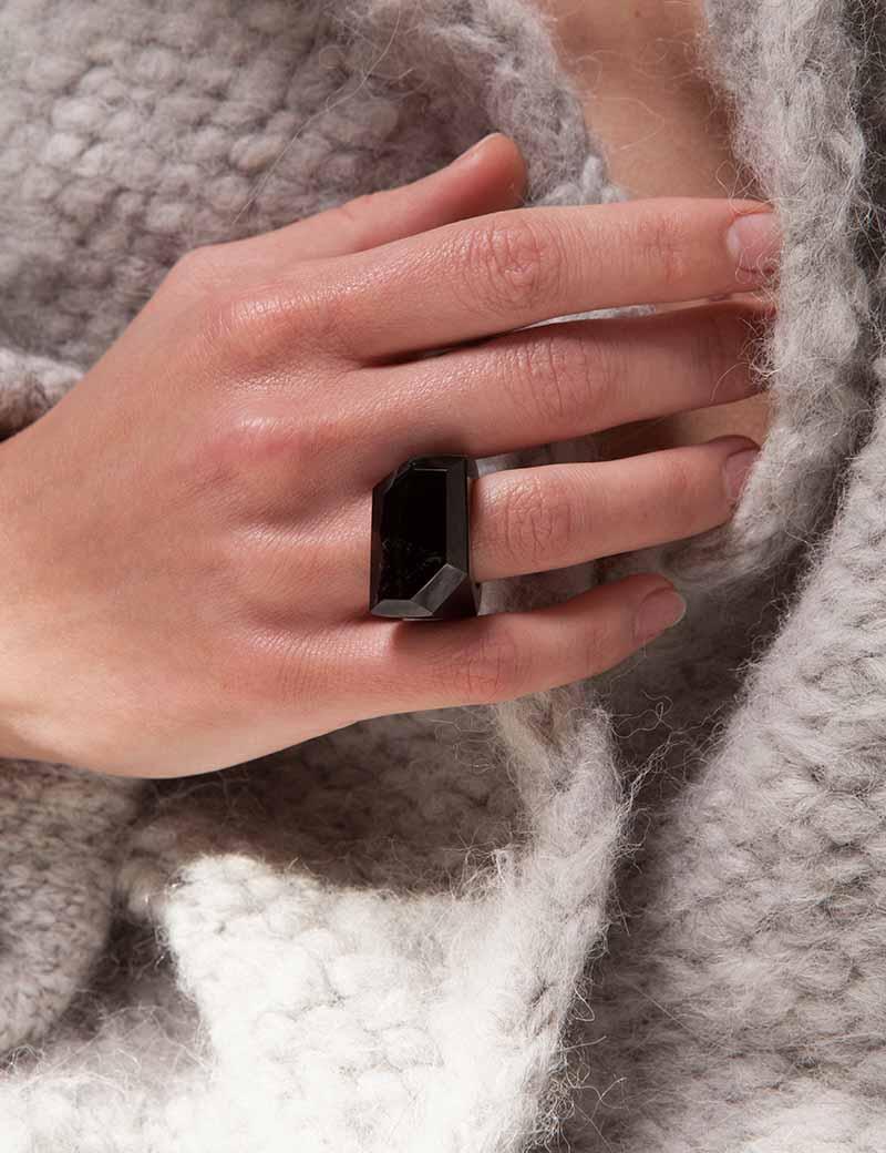 Kathleen WHitaker Smoky Quartz Rock Ring on model close up