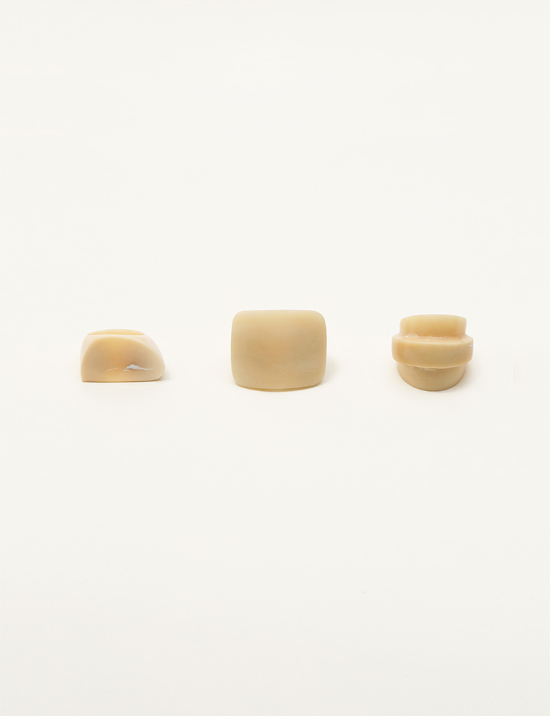 3 Kathleen Whitaker Vegetable Ivory Rock Rings
