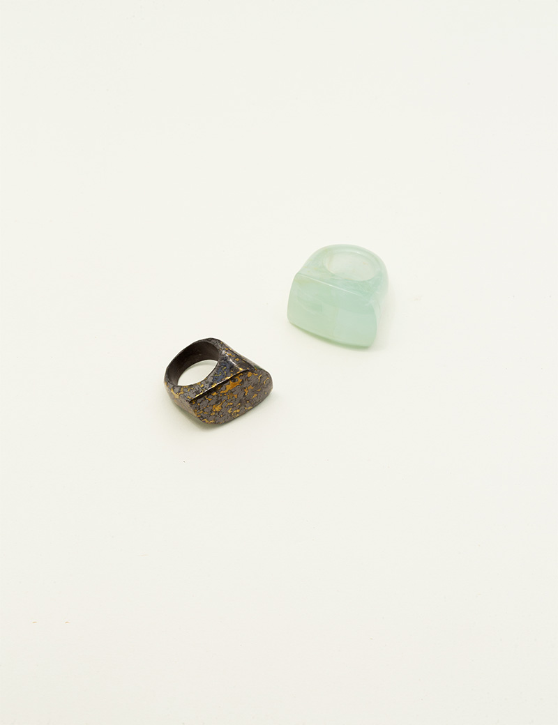 Kathleen Whitaker Hematite in Pyrite and Aquamarine Ring