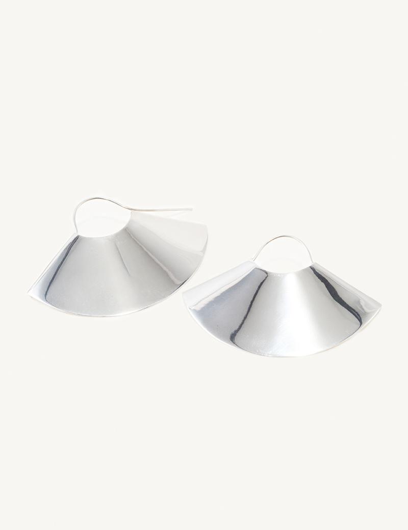 Kathleen Whitaker Large Silver Fan Earrings