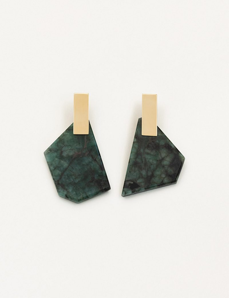 Kathleen Whitaker Emerald with Carbonite on Plane Earrings