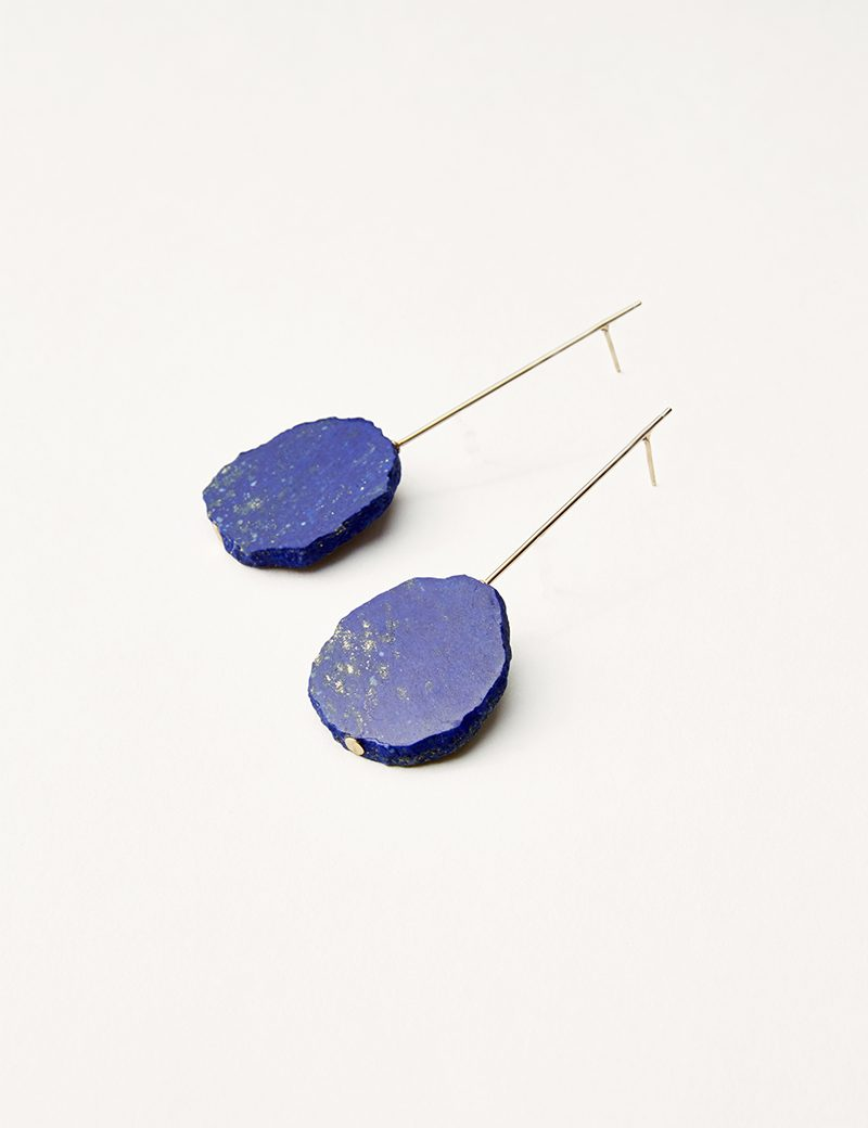 Kathleen Whitaker Lapis Slice Earrings