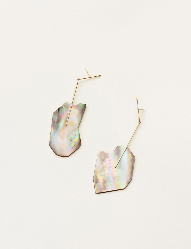 Kathleen Whitaker Brown Mussel Shell earrings on Stick and Strand 3