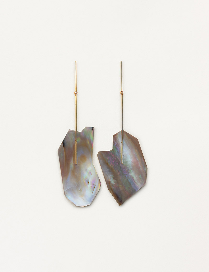 Kathleen Whitaker Brown Mussel Shell Earrings on Stick and Strand